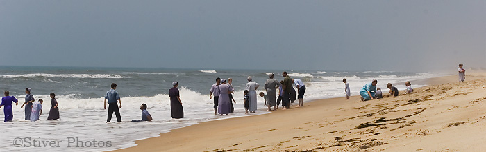 Amish bathers at Cape Hatteras, North Carolina